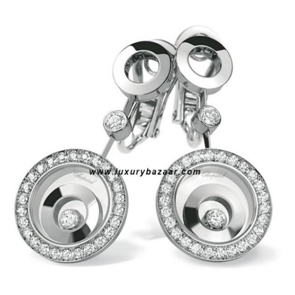 Chopard Happy Spirit Round Drop Earrings White Gold Diamond Set