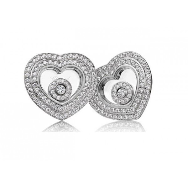 Chopard Happy Diamonds Hearts 18K White Gold 2 Row Diamond Earrings