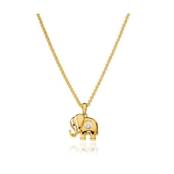 Chopard Happy Diamonds Elephant 18K Yellow Gold Pendant Necklace