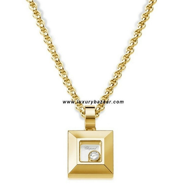 Chopard Happy Diamonds Square Floating Diamond Yellow Gold Necklace