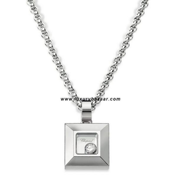 Chopard Happy Diamonds Square Floating Diamond White Gold Necklace