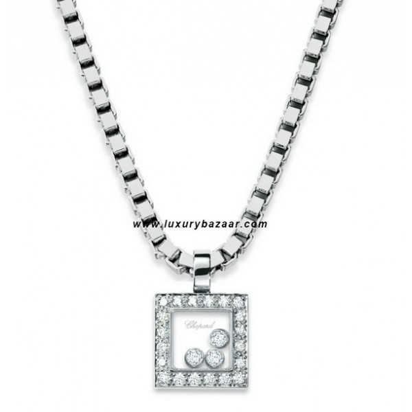 Chopard Happy Diamonds Square 3 Floating Diamonds Set White 38