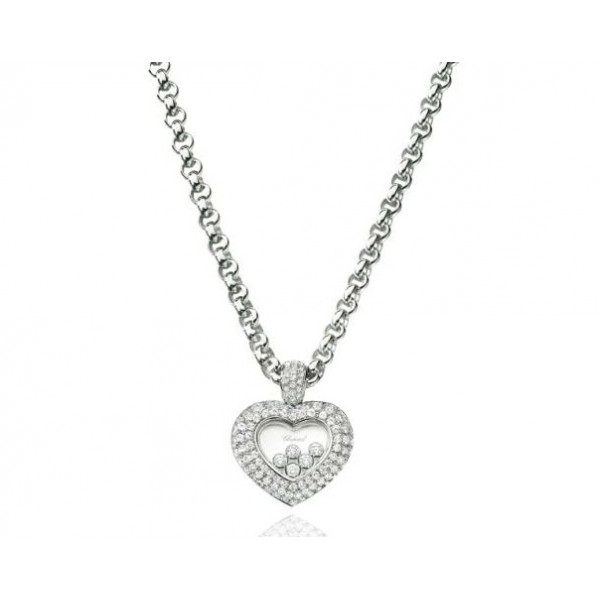 Chopard Happy Diamonds Heart 18K White Gold Diamond and Floating Diamond Pendant Necklace