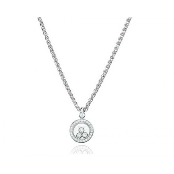 Chopard Happy Diamonds Circle 18K White Gold Diamond Pendant Necklace
