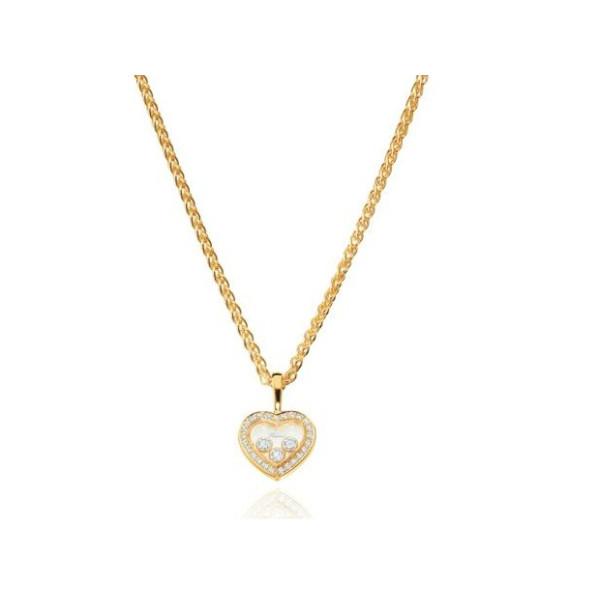 Chopard Happy Diamonds Heart 18K Yellow Gold Diamond and Floating Diamond Pendant Necklace