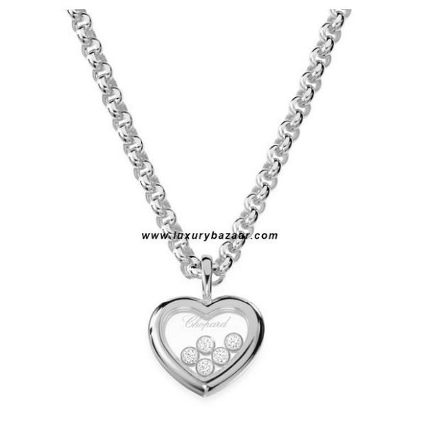 Chopard Happy Diamonds Heart 5 Floating Diamonds White Gold Necklace