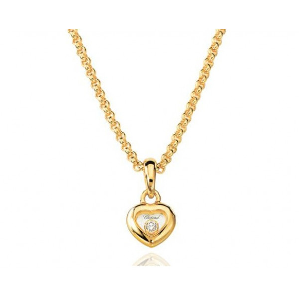 Chopard Happy Diamonds Heart 18K Yellow Gold and Floating Diamond Pendant Necklace