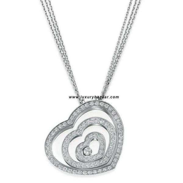 Chopard Happy Spirit Diamond Set Floating Heart Necklace White Gold