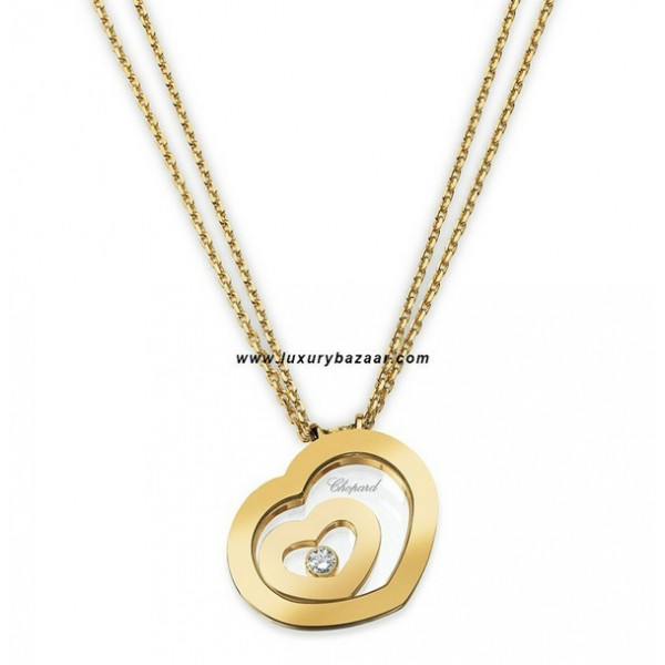 Chopard Happy Spirit Small Floating Heart Necklace Yellow Gold