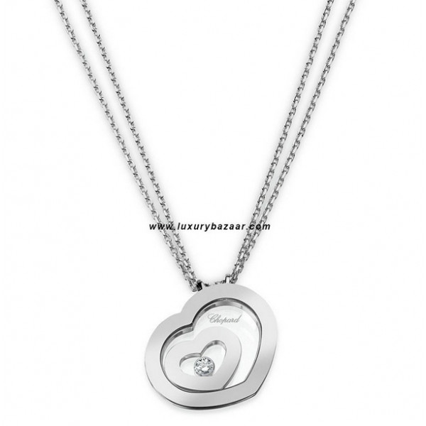 Chopard Happy Spirit Small Floating Heart Necklace White Gold