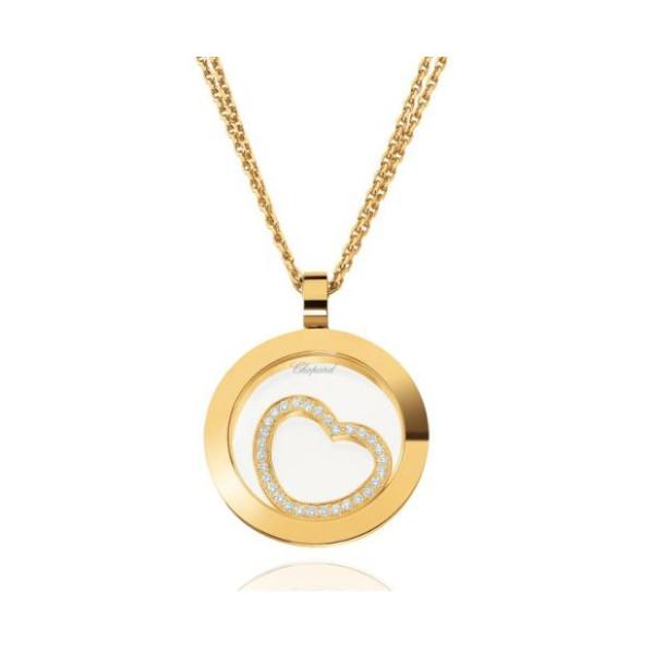 Chopard Happy Spirit Circle Heart 18K Yellow Gold Diamond Pendant Necklace