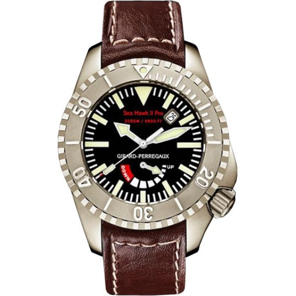 Girard Perregaux watches Sea Hawk II Pro 3000 (Titanium / Black / Leather)