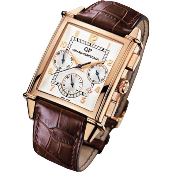 Girard Perregaux watches Vintage 1945 XXL Chronograph (RG / Silver / Leather)