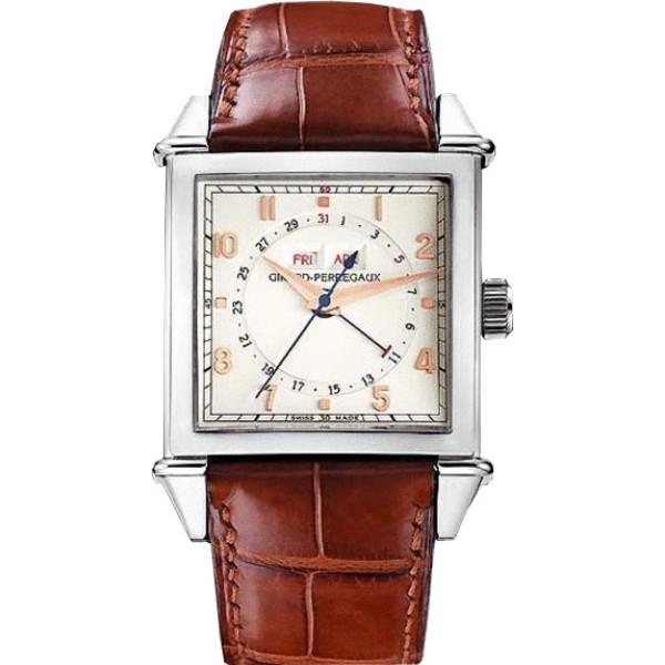 Girard Perregaux watches Vintage 1945 Square Triple Calendar ( SS / White / Leather)