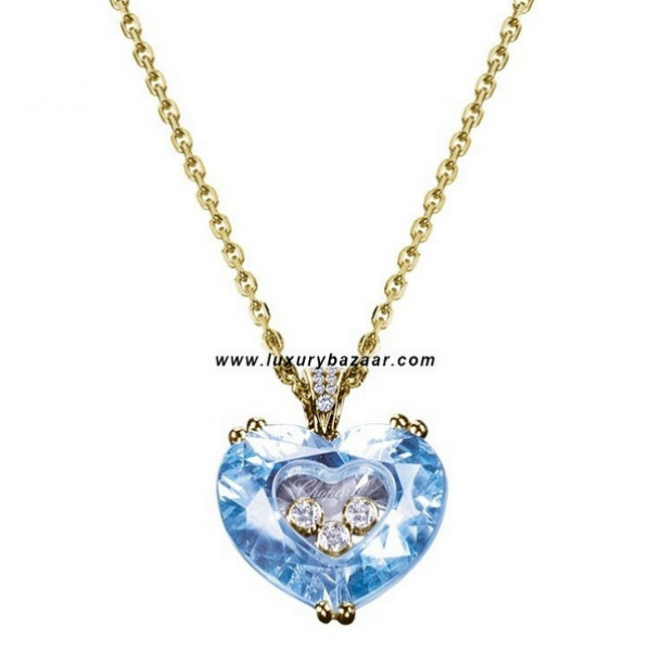 Chopard So Happy Blue Stone Heart 3 Floating Diamonds Yellow 78