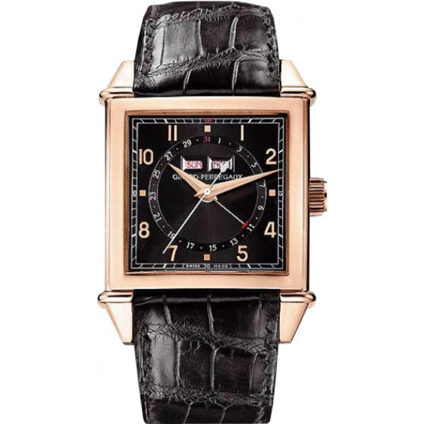 Girard Perregaux watches Vintage 1945 Square Triple Calendar ( RG / Black / Leather)