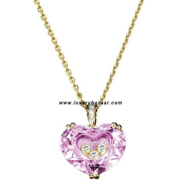 Chopard So Happy Pink Stone Heart 3 Floating Diamonds Yellow 80