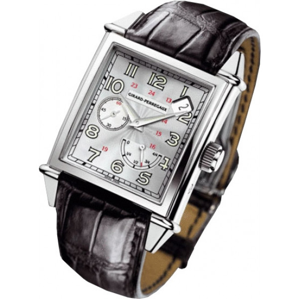 Girard Perregaux watches Vintage 1945 King Size Power Reserve (WG / Silver / Leather)
