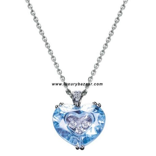 Chopard So Happy Blue Stone Heart 3 Floating Diamonds White 82