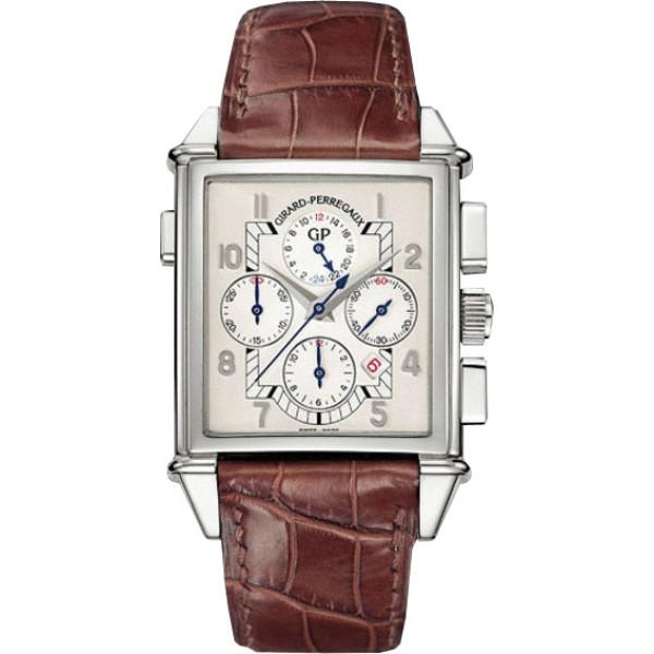 Girard Perregaux watches Vintage 1945 King Size Chronograph GMT (WG/ White / Leather)