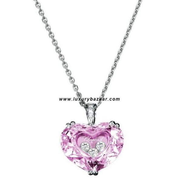 Chopard So Happy Pink Stone Heart 3 Floating Diamonds White 79