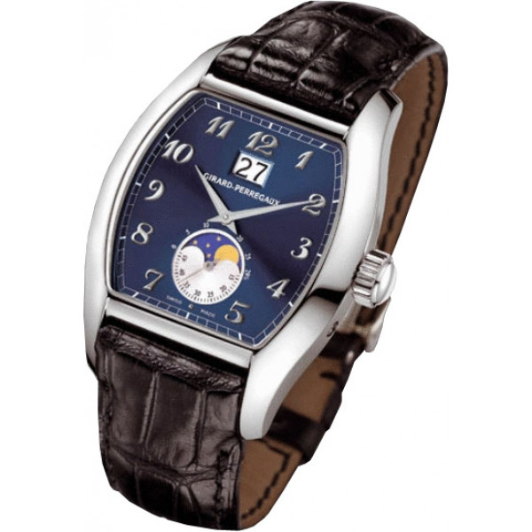 Girard Perregaux watches Richeville Large Date (WG / Blue / Leather)