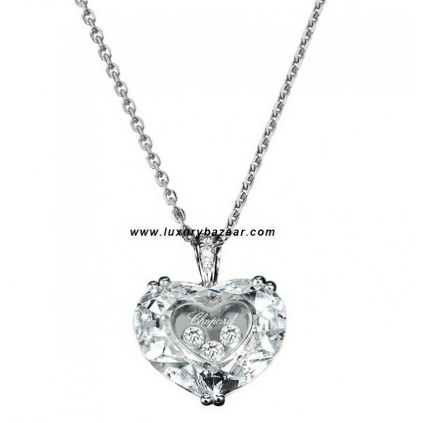 Chopard So Happy White Stone Heart 3 Floating Diamonds White 77