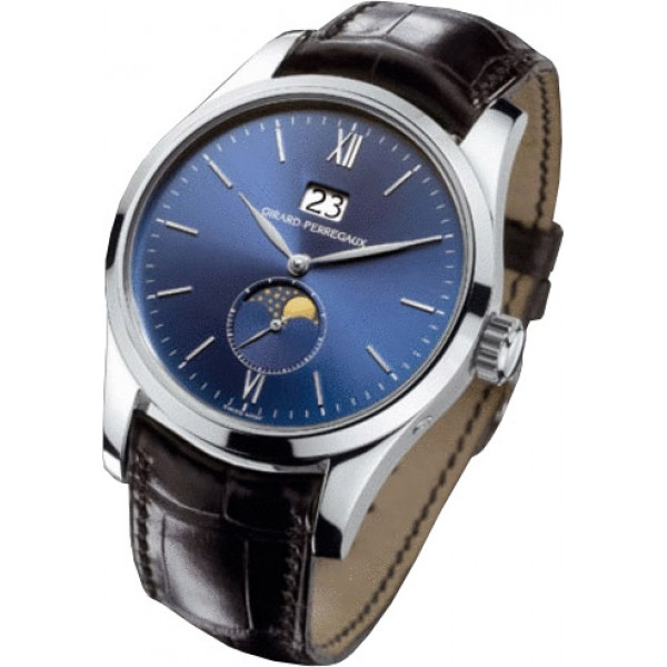 Girard Perregaux watches Classique Elegance Large Date (WG / Blue / Leather)