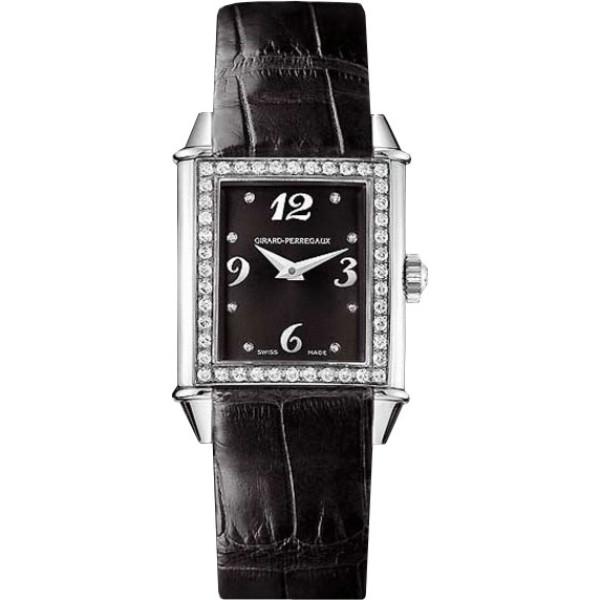 Girard Perregaux watches Vintage 1945 Lady (SS-Diamonds / Black / Leather)