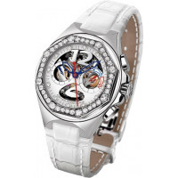 Girard Perregaux watches Laureato USA-98 Lady (SS-Diamonds / White / Leather)