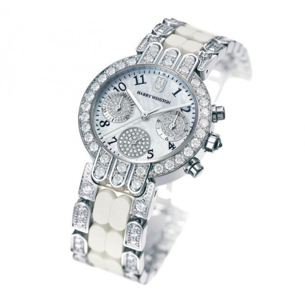 Harry Winston watches Chronograph in white gold with white gold and rubber bracelet