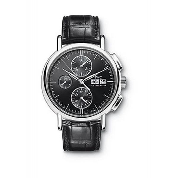IWC watches Portofino Chronograph (Steel / Black / Black Leather)
