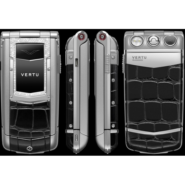 Vertu Constellation Ayxta Steel Diamond Trim Ceramic Black Alligator