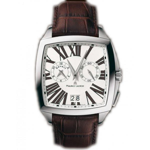 Maurice Lacroix watches Miros Coussin Reveil (SS / Silver / Brown Leather)