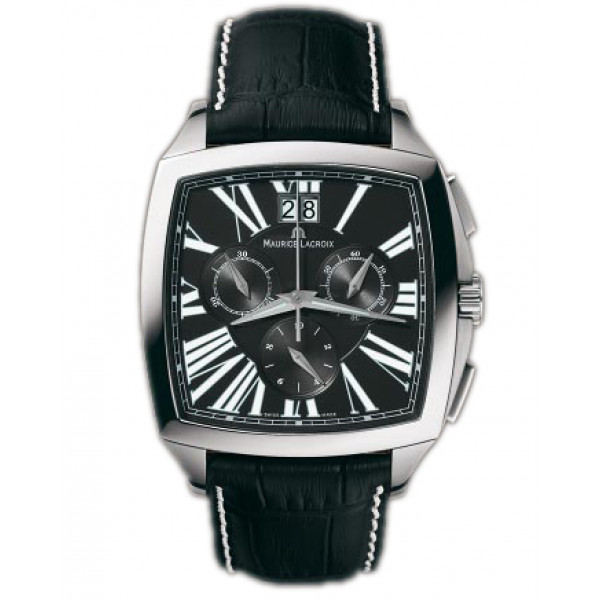 Maurice Lacroix watches Miros Coussin Chronographe (SS / Black / Leather)