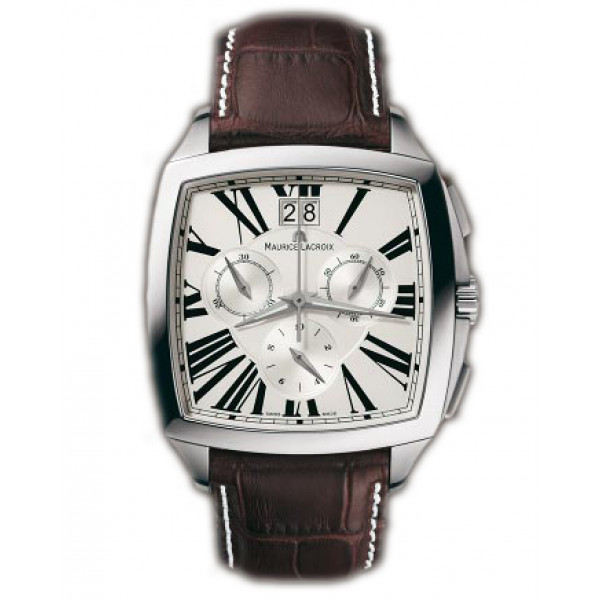 Maurice Lacroix watches Miros Coussin Chronographe (SS / Silver / Leather)