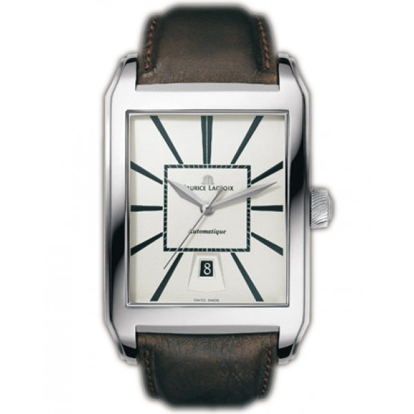 Maurice Lacroix watches Pontos Rectangulaire Automatique (SS / Silver / Leather)