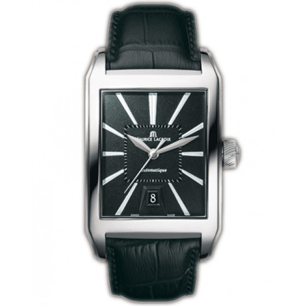 Maurice Lacroix watches Pontos Rectangulaire Automatique (SS / Black / Leather)