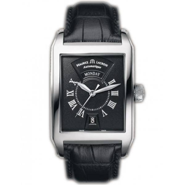 Maurice Lacroix watches Pontos Rectangulaire Day/Date (SS / Black / Leather)