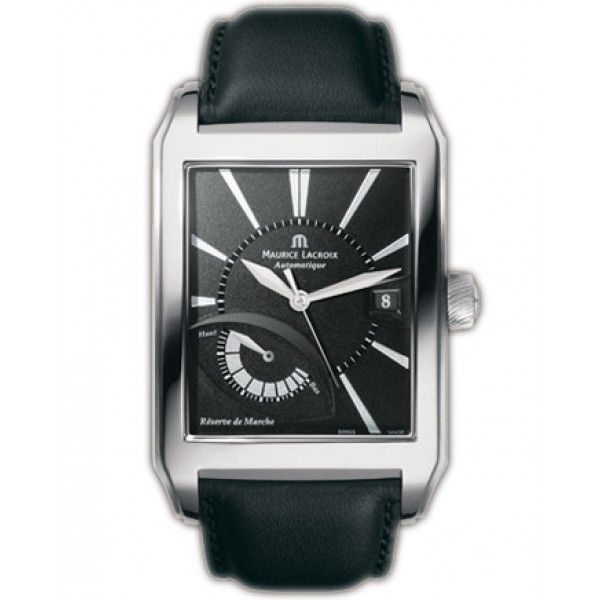 Maurice Lacroix watches Pontos Rectangulaire R?serve de Marche (SS / Black / Leather)
