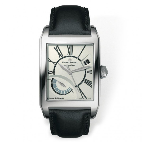 Maurice Lacroix watches Pontos Rectangulaire R?serve de Marche (SS / Silver / Leather)