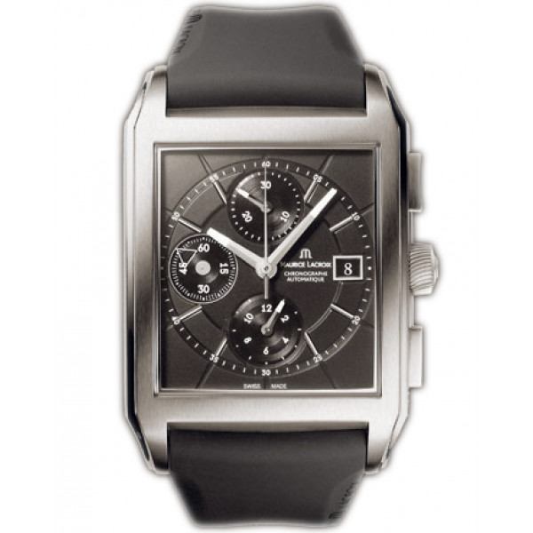 Maurice Lacroix watches Pontos Rectangulaire Chronographe (Titanium / Black / Rubber)
