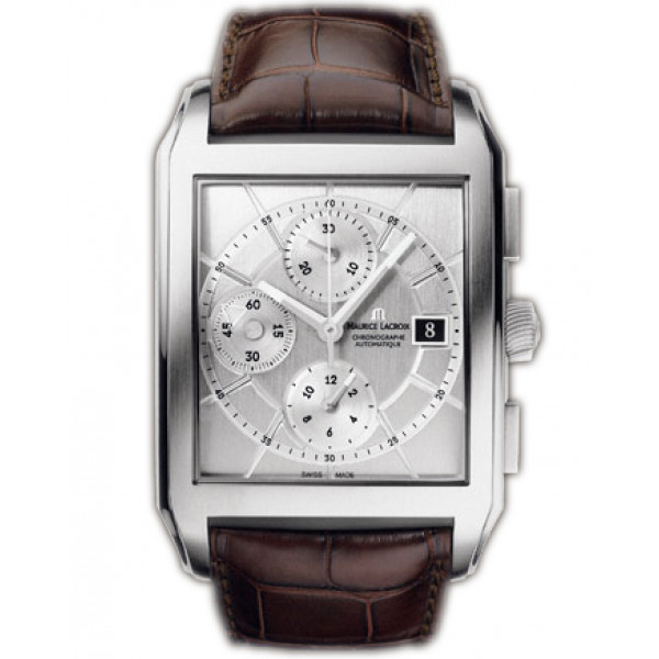 Maurice Lacroix watches Pontos Rectangulaire Chronographe (SS / Silver / Leather)