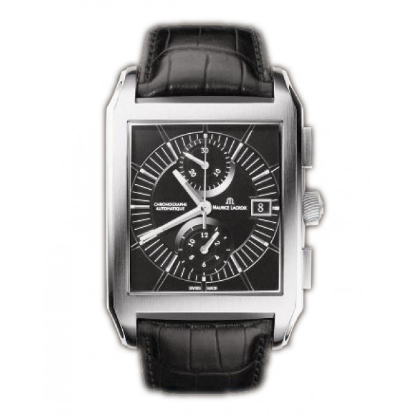 Maurice Lacroix watches Pontos Rectangulaire Chronographe (SS / Black / Leather)