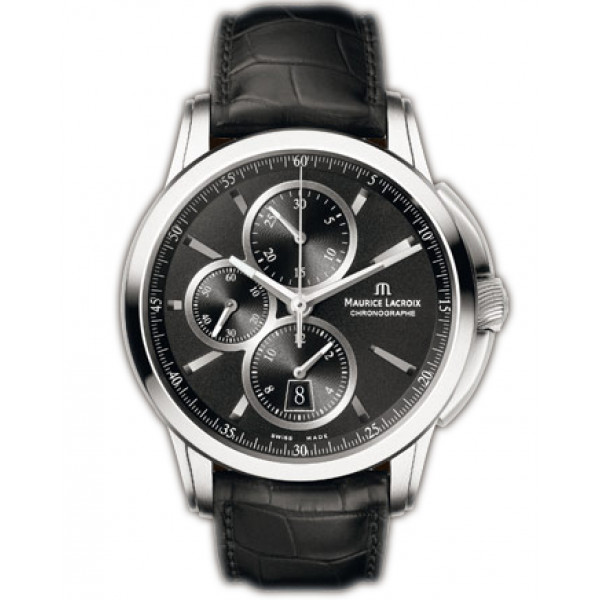 Maurice Lacroix watches Pontos Chronographe (SS / Black / Leather)