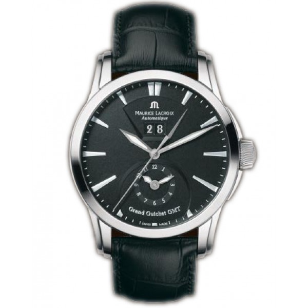 Maurice Lacroix watches Pontos Grand Guichet GMT (SS / Black / Leather)