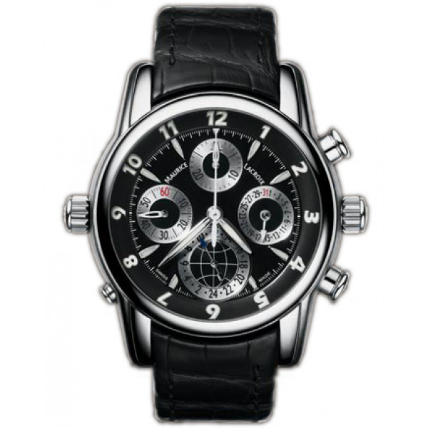 Maurice Lacroix watches Chrono Globe (SS / Black / Leather)