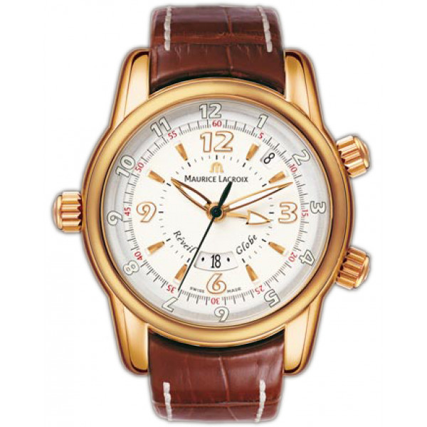 Maurice Lacroix watches Reveil Globe (RG / Silver / Leather)