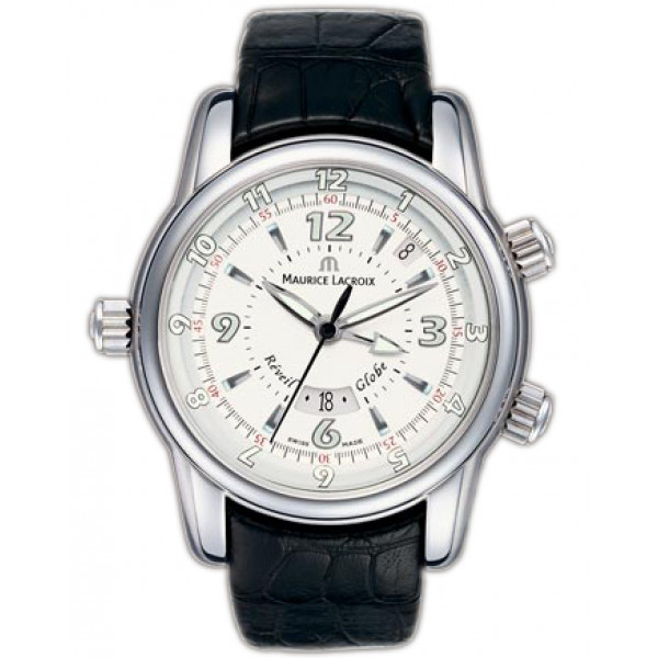 Maurice Lacroix watches Reveil Globe (SS / White / Leather)