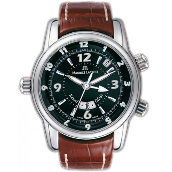 Maurice Lacroix watches Reveil Globe (SS / Black / Leather)